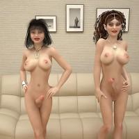 Two beautiful futa models masturbating and cumming together!
