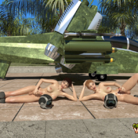 Two hot futa pilots test their hardcocks before take off!