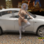 Sexy futa babe strokes her cock on top of a fancy BMW