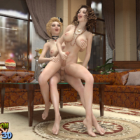 Two sexy futa babes with big dicks having sex in a mansion!