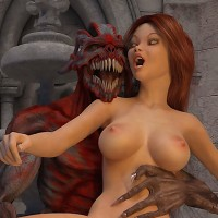Redhead maiden having intercourse with a demon. Part I.