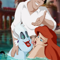 Ariel and Ursula give Eric an underwater blowjob