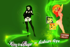 Kim Possible and Shego = Hot lesbian love wallpaper!